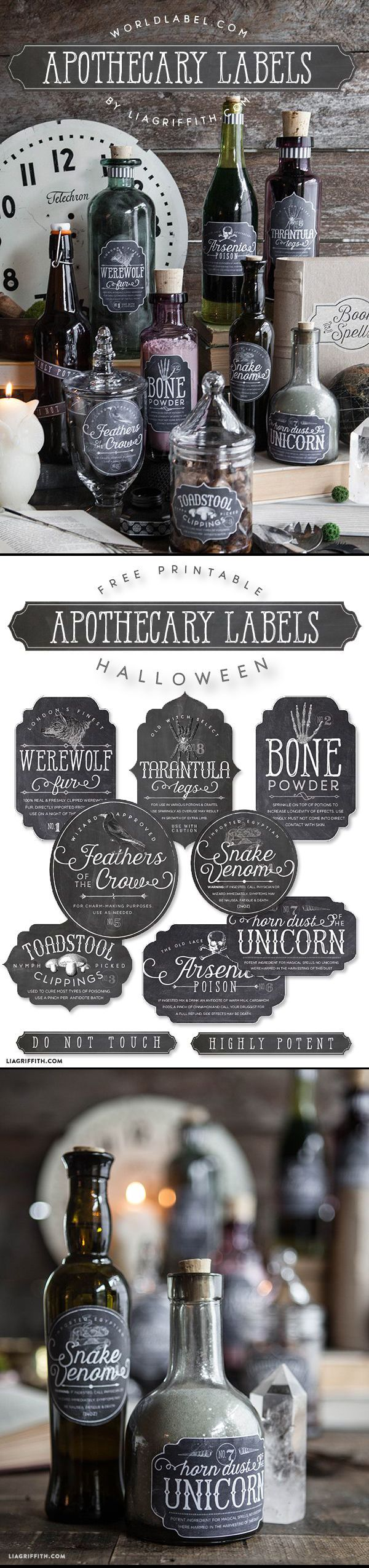 FREE PRINTABLE Apothecary Labels. The Sanderson Sisters have a cupboard full of potions. Potion bottles are fairly easy to make and can be an inexpensive way to decorate. Hocus Pocus Halloween Party Decorations & Ideas: