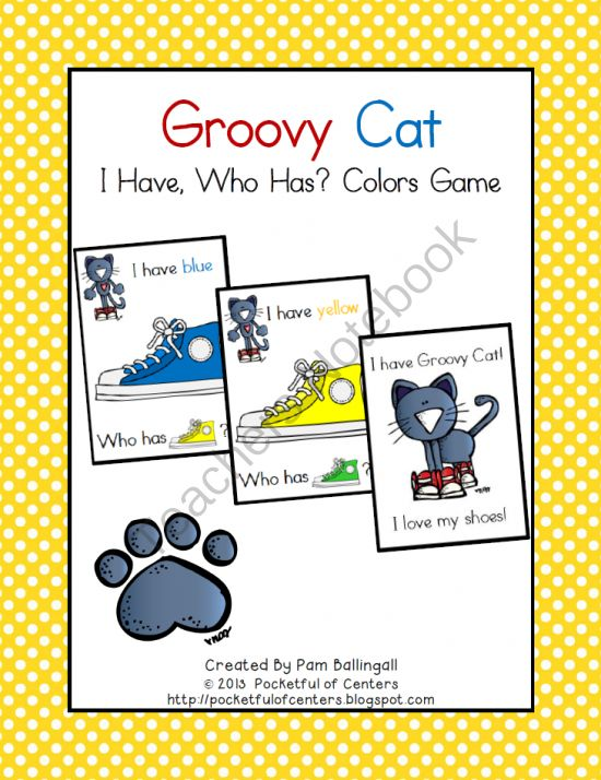 Groovy Cat Colors Game From Pocketful Of Centers On TeachersNotebook 8 Pages