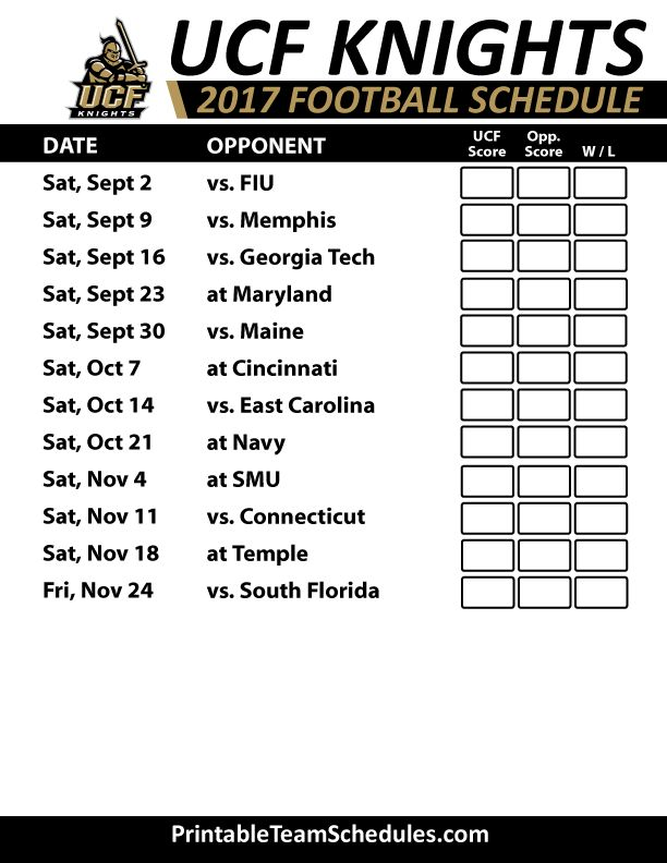 2017 UCF Knights Football Schedule