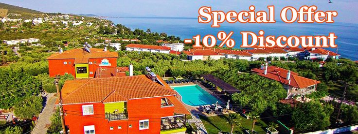 Special early #booking offer for online #reservation. Contact us now and get an extra -10% discount to our already low prices.  http://sundayresort.gr/pricelist-rates/  #Halkidiki #Holidays #Offer #Greece