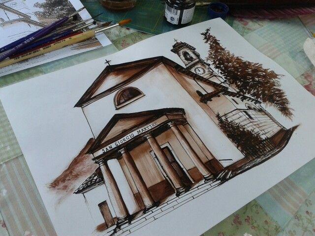 Chiesa Acquate,Lecco inchiostro calligrafico su cartoncino