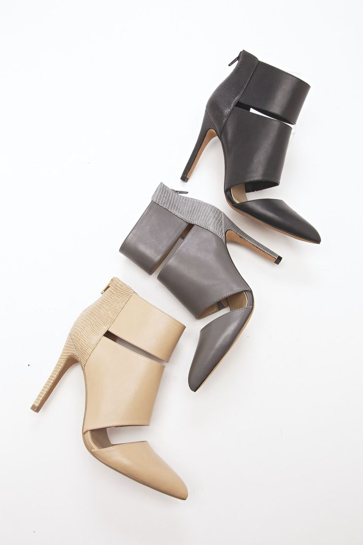Genuine leather heels with pointed toe, cut out detail and hooded ankle cuff. Includes an easy back zipper.