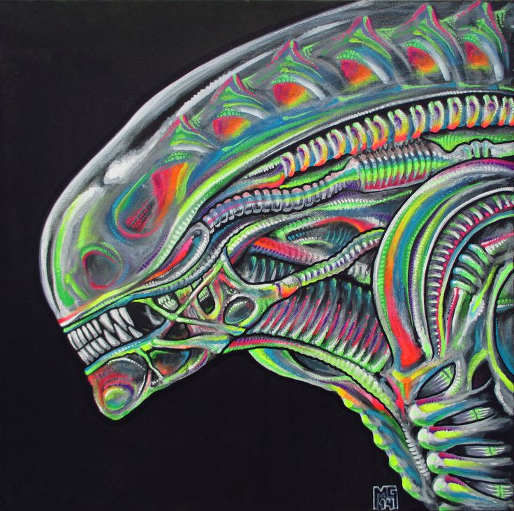 """• Posters: """"Rainbow Warrior (H.R. Giger Tribute)"""" signed print on 11""""x17"""" semi-gloss 100 lb. cardstock. • Giclées: Signed and numbered (series of 25) high quality archival print on canvas. Finished wi"""