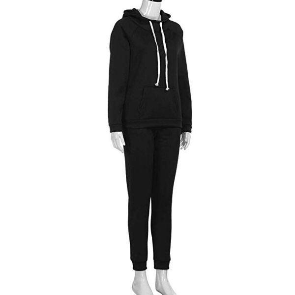 Women Sweatsuits Sets Plus Size Solid Long Sleeve Hoodies Sweatshirt Zip Drawstring and Bodycon Long Pants Tracksuit Set 2 Pieces Outfits