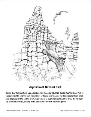 Utah Printables: Capitol Reef National Park Coloring Page