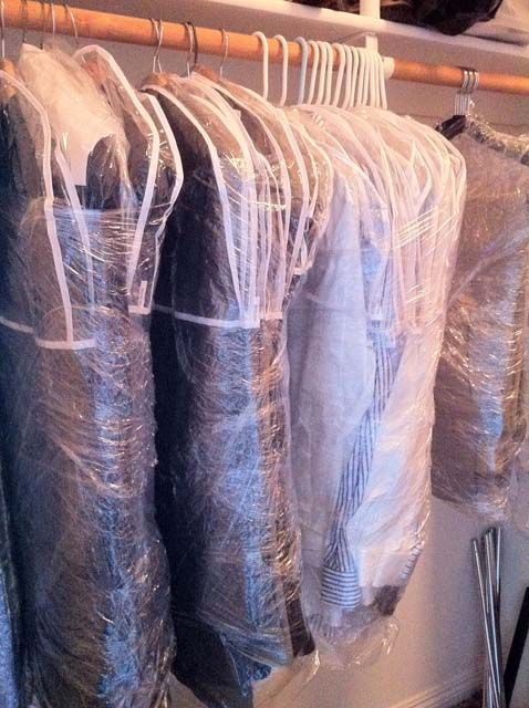 saran wrap hanging clothes