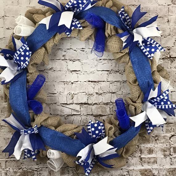 24 Burlap Blue and White Lightning Bolt Wreath