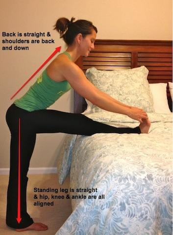 hamstring stretch on bed  tight hamstrings posture