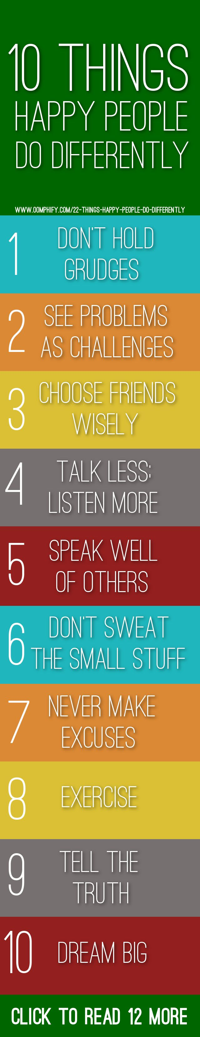 10 things happy people do differently #happy #happiness #health #love