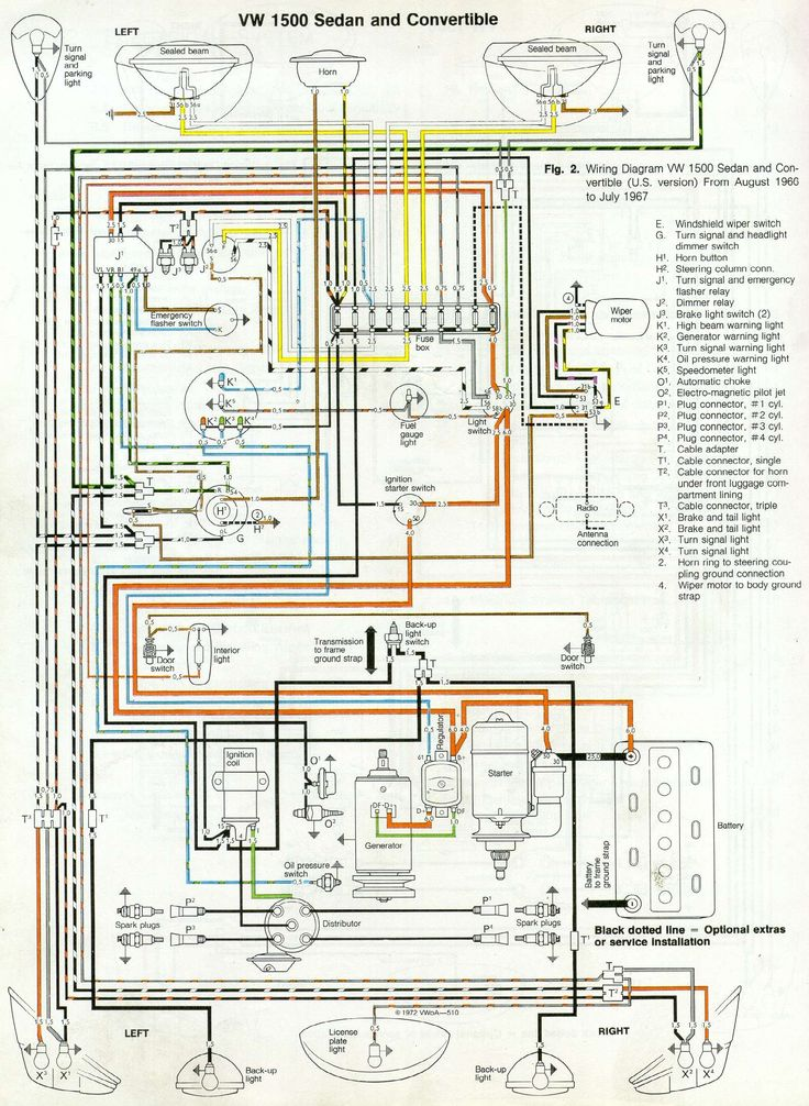 Thesamba Com Type 1 Wiring Diagrams And 1969 Vw Beetle Diagram