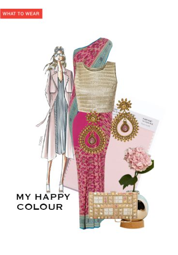 'My Happy Colour' by me on Limeroad featuring Pink Sarees with Multi Color Clutches