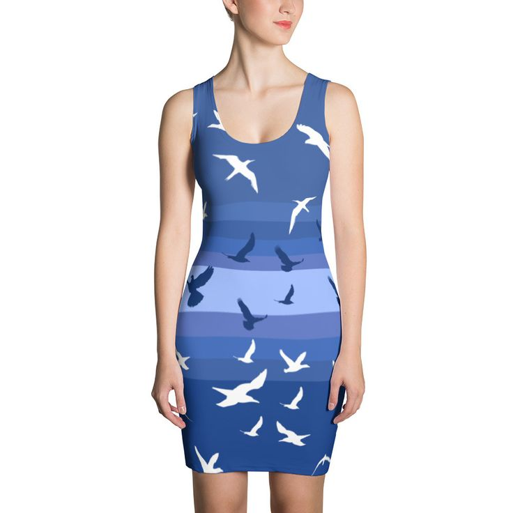 Sister Doves Blue and White Bodycon Dress   #style #wallart #latestclothingtrends #swag #fashionjewelry #freeshipping #presents #videogaming #gifts #jewelrytrends