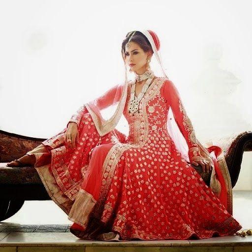 Lashkaraa red bridal anarkali via IndianWeddingSite.com