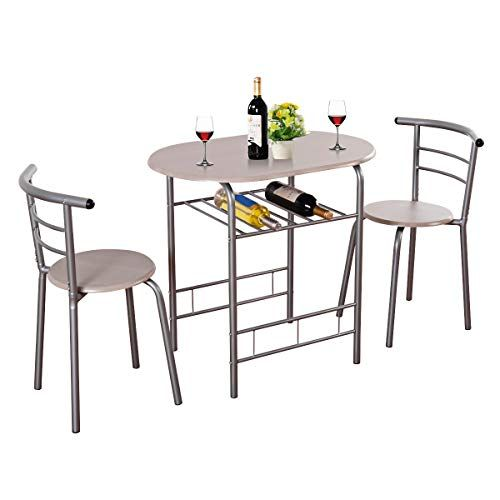 Giantex 3 Piece Dining Set Compact 2 Chairs And Table Set With Metal Frame And Shelf Storage Bistro Pub Breakfast Space Saving For Apartment And Kitchen Beech Bistro Table Set Breakfast