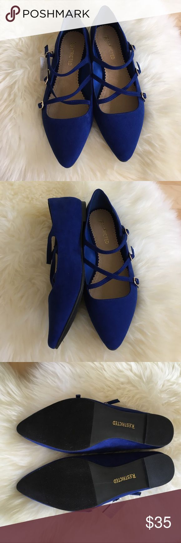 NWT Cobalt Blue Faux Suede Buckle Flats, Sz 9 Brand new cobalt blue faux suede flats with gold buckle detail. Super cute and comfortable. Never worn- new with tags! Last pic shows the same shoes in Taupe. Item for sale is COBALT. Restricted Shoes Flats & Loafers