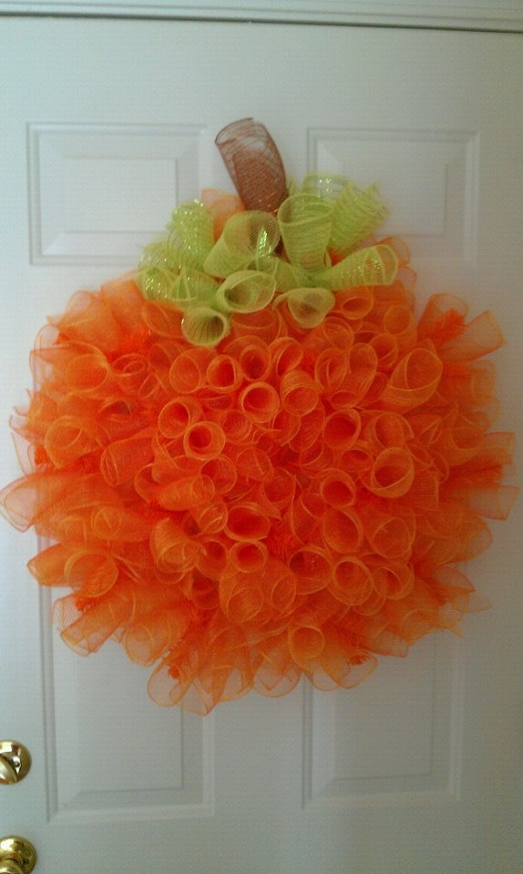Pumpkin Deco Mesh Wreath. Love this, but I would turn into a jack-o-lantern with wood pieces.