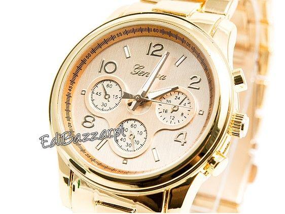 Męski złoty srebrny zegarek GENEVA HIT bloger retro biały CLASSIC