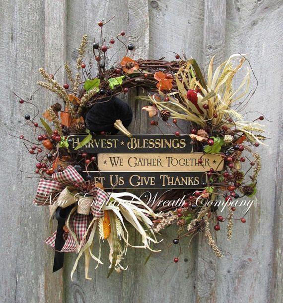 Fall Wreath, Autumn Wreaths, Thanksgiving Wreath, Harvest Decor, Farmhouse Fall, Fall Woodland, Fall Designer Wreath, Fall Country Wreath #affiliatelink #ad