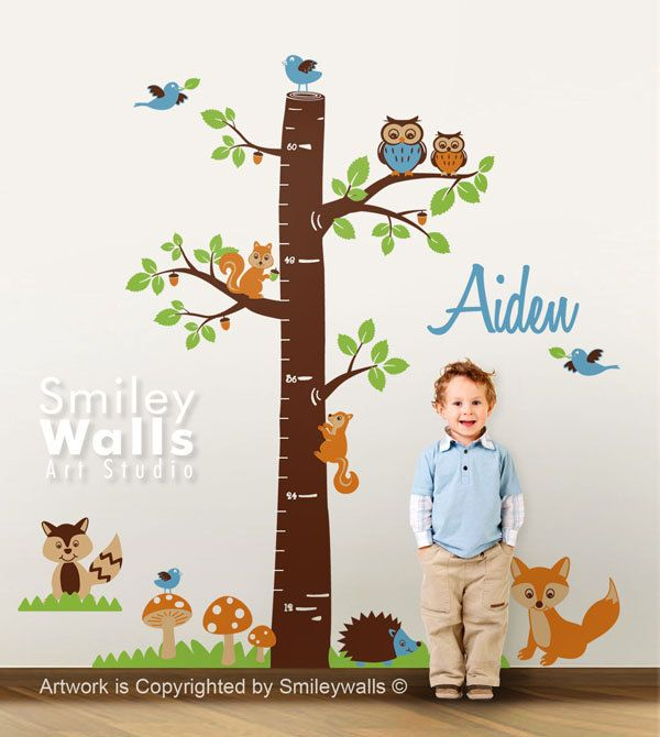 Personalized Growth Chart Nursery Vinyl Wall Decal Woodland Animals Kids Nursery Vinyl Wall Decal Baby Room Decor Fox Owls Racoon Squirrels via Etsy.