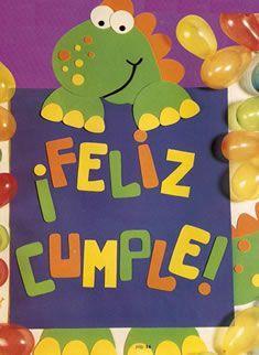 Cartel en goma eva Dinosaurio para cumpleaños infantil. MOLDES cartel de cumpleaños en goma eva: