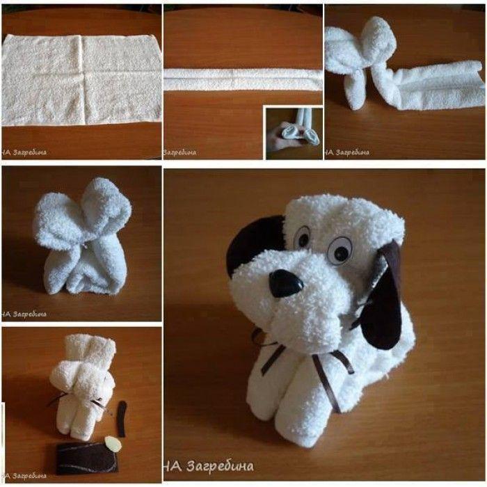 puppy van een handdoek, strik en vilt