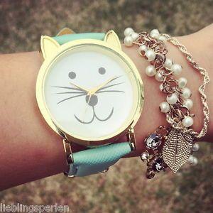 LP Mintgrün Damen Armbanduhr Lederarmband Katze Analog Quarzuhr Watch Sportuhr