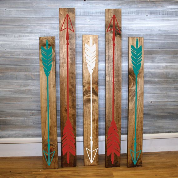 Set Of 5 Multi Color Wood Arrow Sign Girls Bedroom Wall Decor Reclaimed Barn Wood Gift For Her Aztec Style Design
