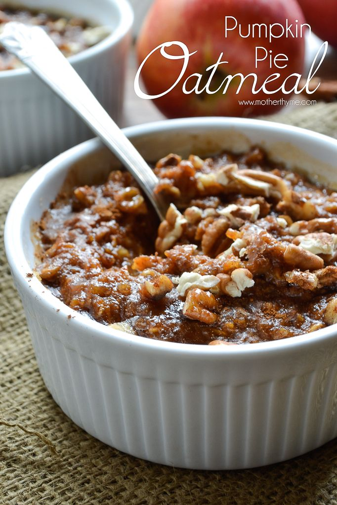 An easy recipe for creamy Pumpkin Pie Oatmeal topped with brown sugar, cinnamon and pecans for an easy breakfast to enjoy as you start your day.