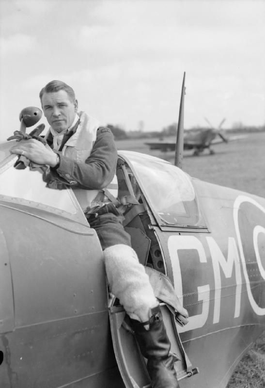 """Group Captain A G """"Sailor"""" Malan, Officer Commanding No. 145 Wing based at Merston, climbing in to the cockpit of his Supermarine Spitfire before taking off from Appledram, Sussex."""