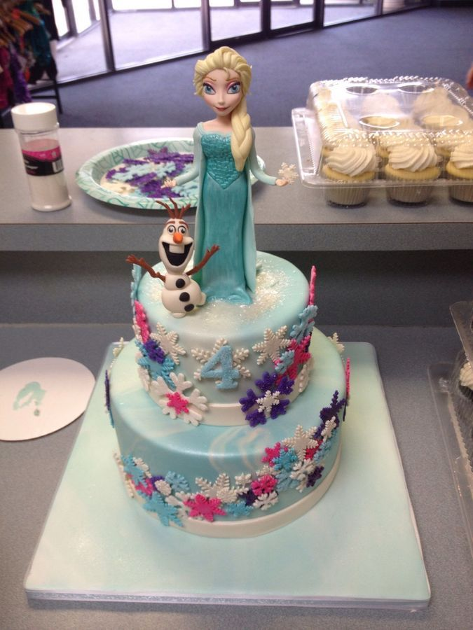 Frozen Themed Cake With Fondant Figures Kids Birthday