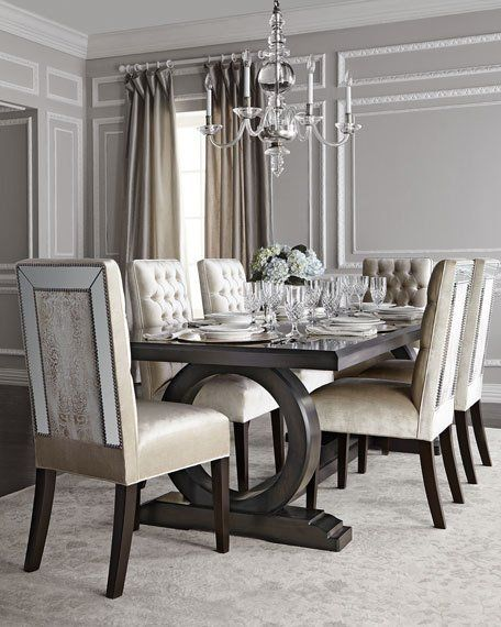 Brittney Mirrored Dining Chair Alden Trestle Table By Haute House At Horchow
