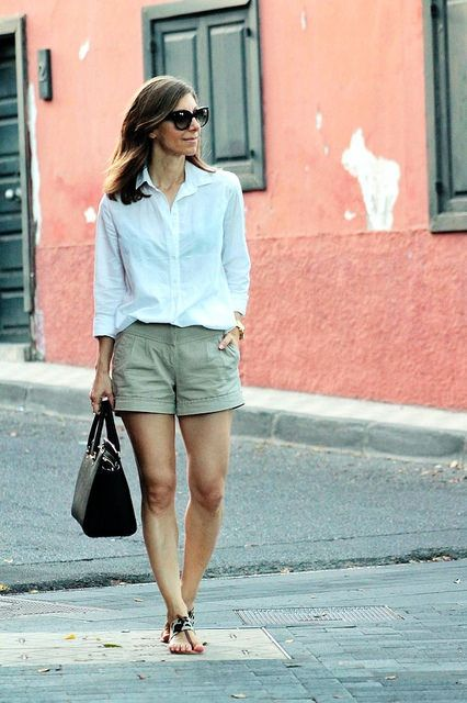 neutral shorts // white shirt