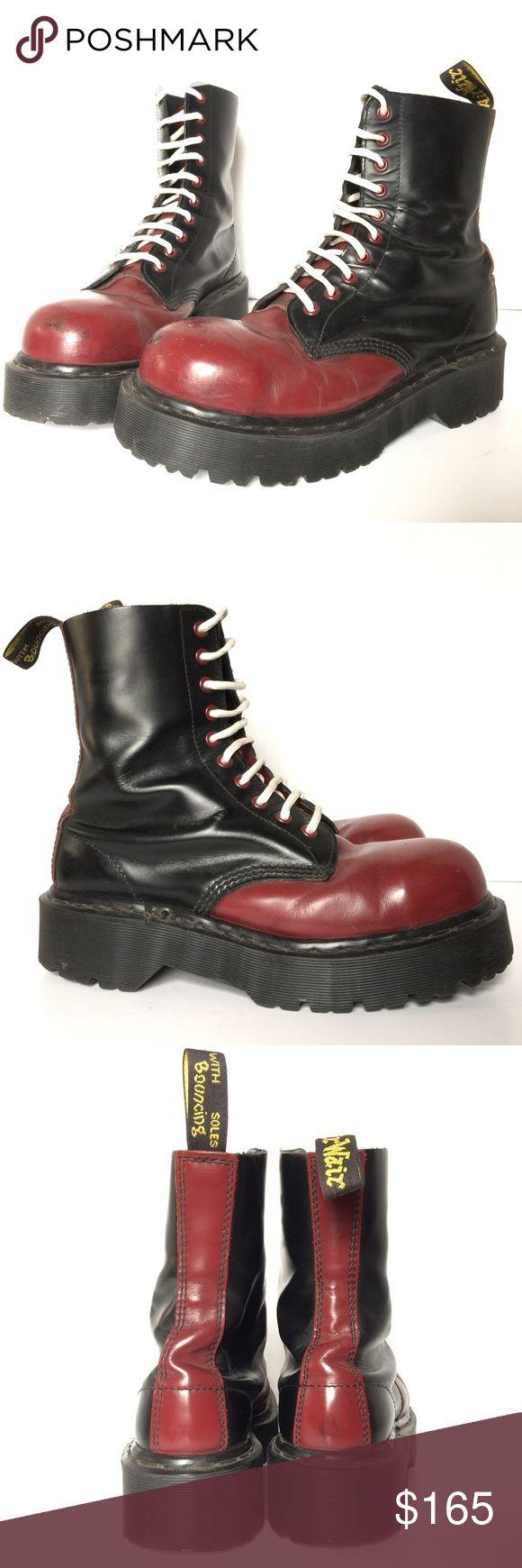 Dr. Martens Red/Black Steel Toe boot M 9/W 10 UK8 Two tone oxblood & black Docs. Steel toe. 10 eyelet. MADE IN ENGLAND. Vintage. UK 8. Men's US 9. Women's US 10 Dr. Martens Shoes Lace Up Boots