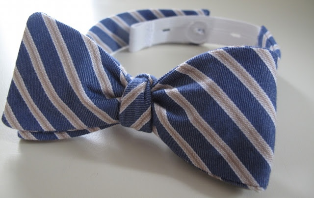 Tied Bow Tie. I like the button and elastic closure.