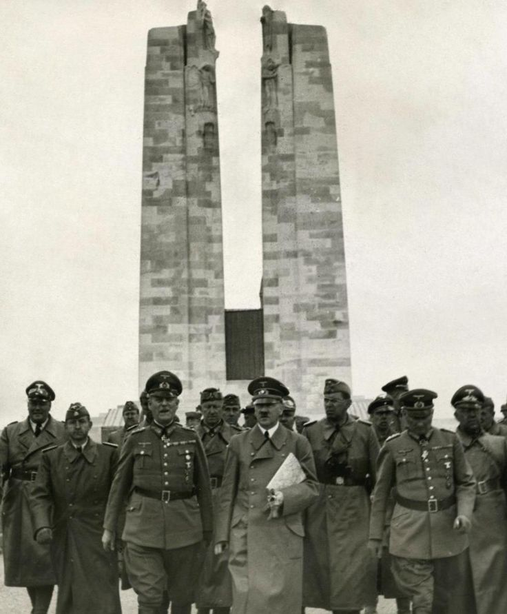 Hitler visiting the Canadian War Memorial, at Vimy Ridge, France. 1940. Hitler so respected & revered the Canadian soldier after fighting them in WWl that he gave orders not to bomb the Canadian Memorial. Canadians were given a name by the Germans in World War l - Canadians were called Storm Troopers. German soldiers feared the Canadians, gave them a scary name. Hitler reused that name for his own troops in WWll because it put fear into people.