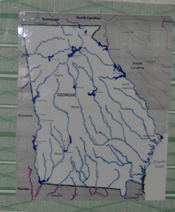 Georgia Map to highlight major rivers u0026