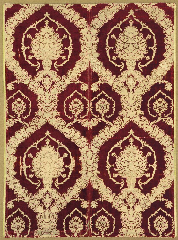 An Italian Renaissance voided, pile on pile silk velvet, brocaded, metal-thread and bouclé panel, 16th century | lot | Sotheby's