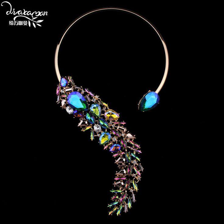Dvacaman Brand 2016 New Fashion Za Crystal Choker Necklace Women Vintage Gold Plated Maxi Necklace Wedding Statement Jewelry S90