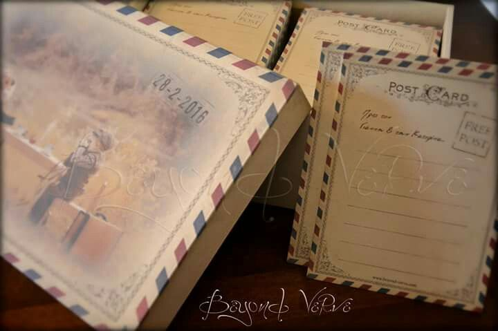 Vintage postcard card box wish cards - Wedding stationery