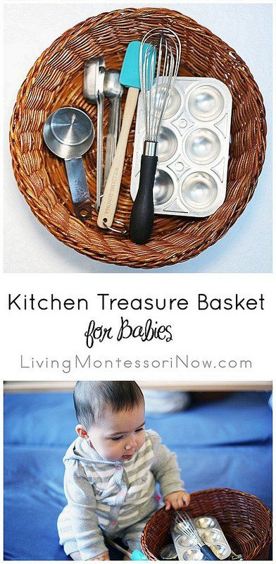 You'll find treasure baskets in Montessori infant-toddler programs, and they're great to have if you're the parent, grandparent, or caregiver of a baby.