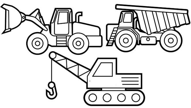 Excavator Buldozer And Dump Truck Coloring Page With Images