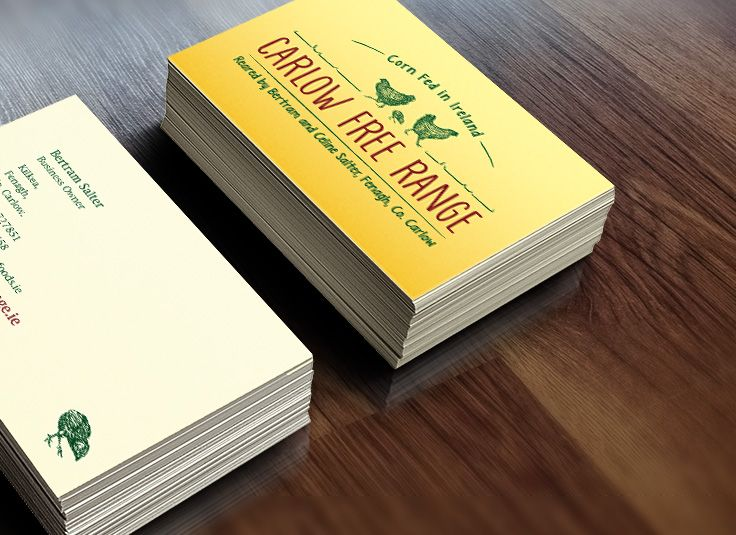 Business cards designed for Carlow Free Range. www.akgraphics.ie