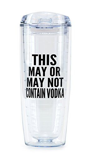 """This May or May Not Contain Vodka"" Tumbler By Fluent Sarcasm - Funny Double Walled Insulated Cup with Straw for Cold Drinks - BPA Free Acrylic - Definitely Might Be Vodka 20 oz Fluent Sarcasm http://www.amazon.com/dp/B01BP1T7LU/ref=cm_sw_r_pi_dp_R8J2wb01Q4MDH"