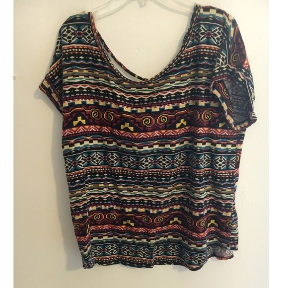 Slouchy Tribal Shirt Flowy tribal shirt with strappy back Forever 21 Tops Tees - Short Sleeve