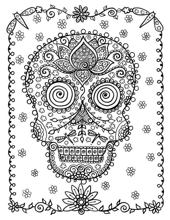 Coloring Book Full of SUGAR SkULLs Fun and Funky by ChubbyMermaid