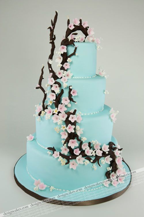 Tiffany blue wedding cake with brown branches