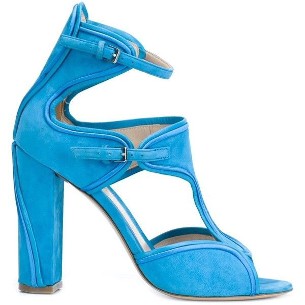 Monique Lhuillier buckled chunky high heel sandals ($1,280) ❤ liked on Polyvore featuring shoes, sandals, blue, chunky-heel sandals, chunky shoes, blue shoes, buckle shoes and blue heel sandals