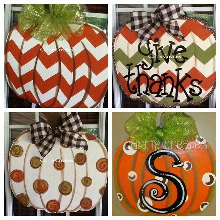 Pumpkin Chevron Door Hanger