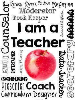 "FREE ""I Am a Teacher"" Printable Subway Art."