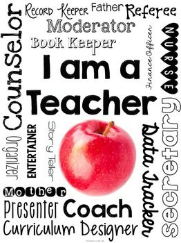 "FREE ""I Am a Teacher"" Printable Subway Art."
